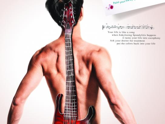 Novartis Print Ad - Watch out, pain out - Guitar