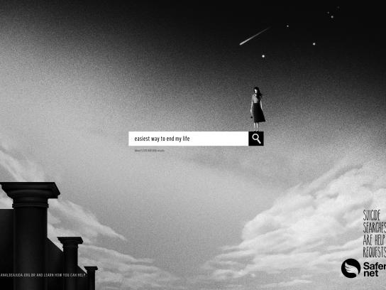 Safernet Brasil Print Ad - Suicide Searches - Easiest Way