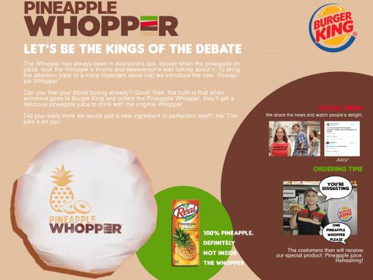 Burger King Integrated Ad - Pineapple Whopper