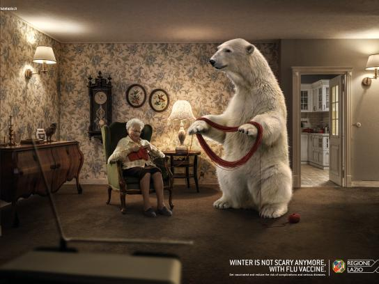 Regione Lazio Print Ad - Unscary Winter - Bear