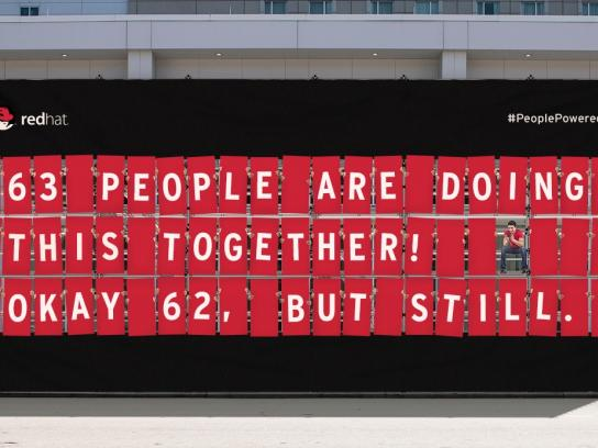 Red Hat Outdoor Ad -  People-powered billboard, 4