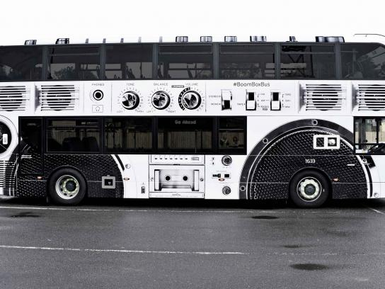 Arts University Bournemouth Outdoor Ad - Boombox bus