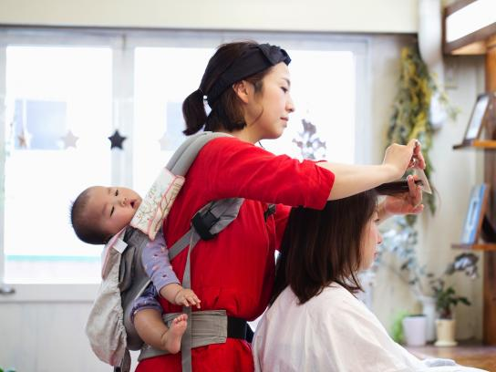 Baby on board—and in the beauty salon
