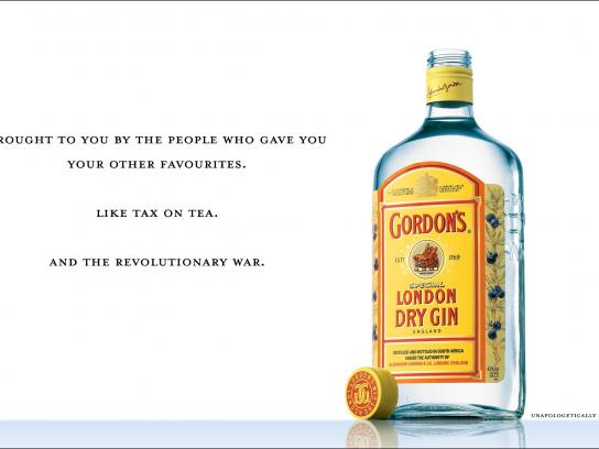 Gordons Print Ad - Unapologetically British