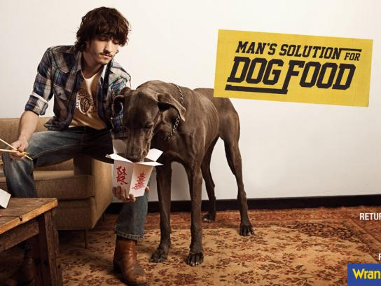 Wrangler Print Ad -  Man's solution for dog food