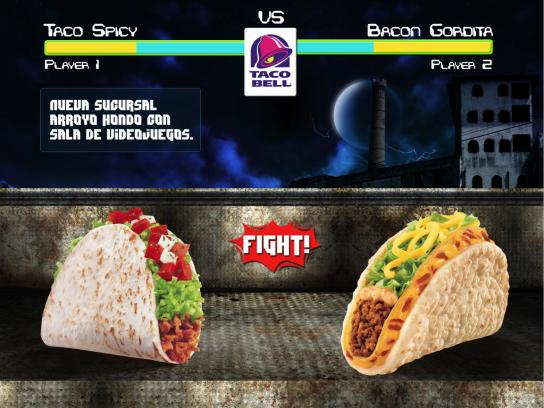 Taco Bell Print Ad -  Arroyo Hondo with video game arcade, 1