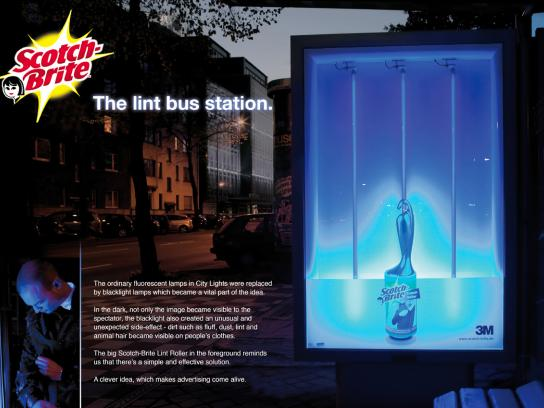 Scotch-Brite Ambient Ad -  The lint bus station
