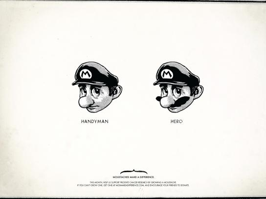 Moustaches Make A Difference Print Ad -  Super Mario