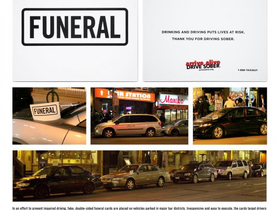 Arrive Alive Ambient Ad -  Parked Procession