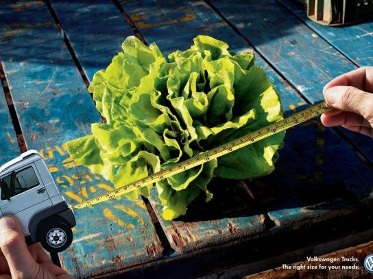 Volkswagen Print Ad -  Right size for your needs, Lettuce