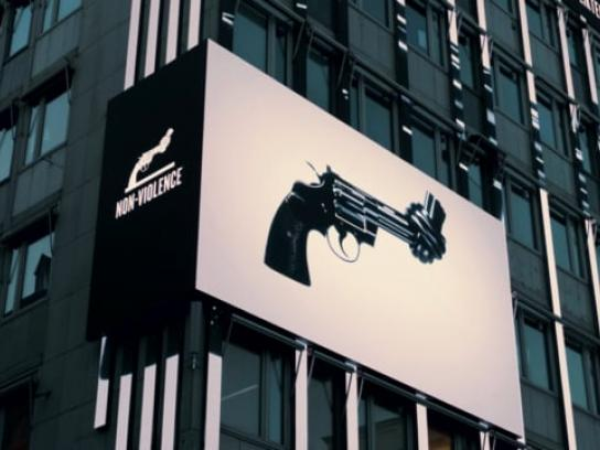 Non Violence Project Outdoor Ad - The Knotted Gun Billboard
