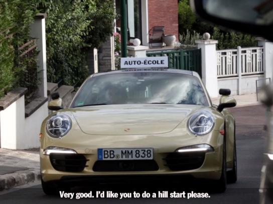 Porsche Digital Ad -  Taking the driving test in a sports car