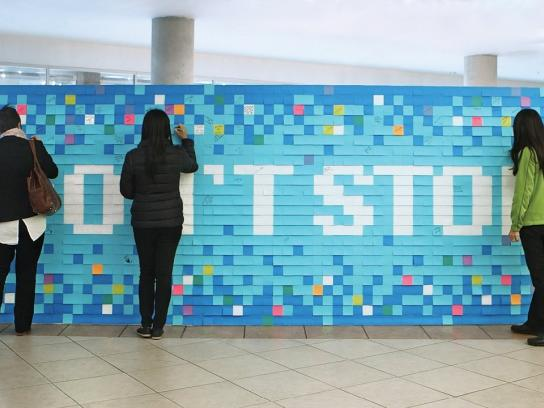 Royal Roads University Experiential Ad - Sticky note mural