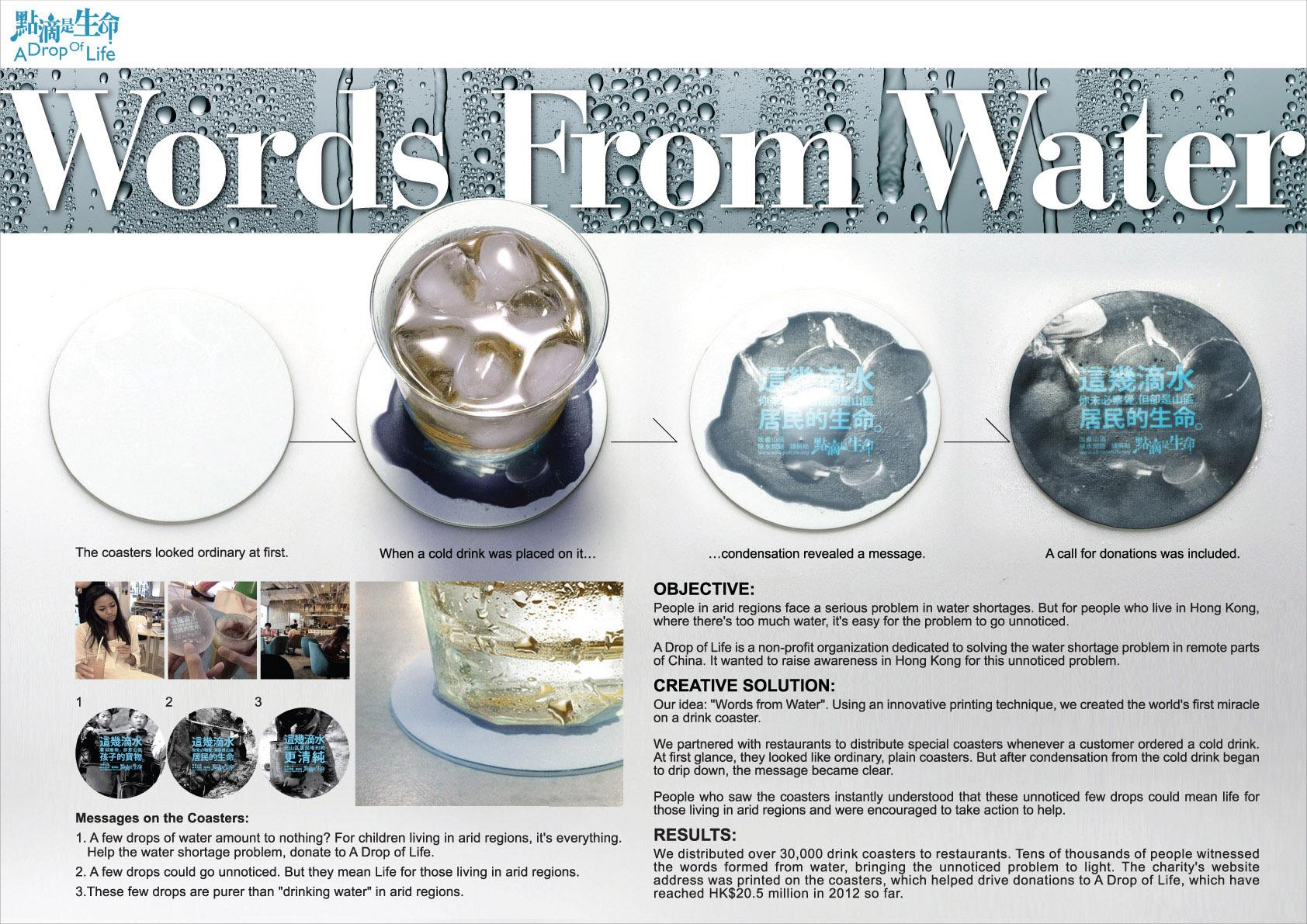 A Drop Of Life:  Words from water